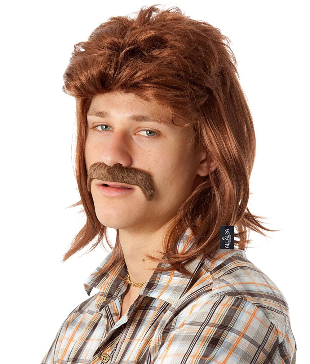ALLAURA 80's Brown Mullet Wig for Men Funny Redneck 80s Costume Wigs American Accessories
