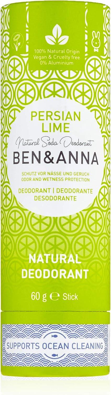 Ben&Anna - Desodorante en Barra, Base de Soda y Karité, Protección Contra Malos Olores y Sudor. Tubo de Papel Reciclable Sin Plásticos, Esencias de Lima Persa, 60g