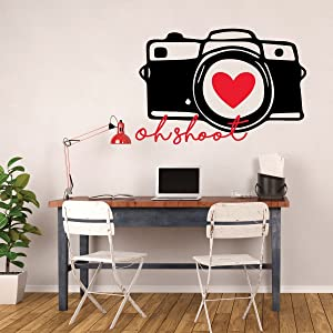Camera Wall Decor - Oh Shoot - Photography Wall Decor - Vinyl Wall Decal For Bedroom, Playroom Or Study Area.