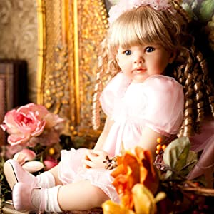 PURSUEBABY Magnetic Mouth Realistic Reborn Toddler Girl Doll 24 Inch Princess Laurie Soft Body Real Life Reborn Baby Dolls with Pacifier and Blond Curly Hair Comes Gift Box Set