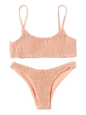 1e4aea65f1f59 SweatyRocks Women's Sexy Bathing Suit Solid Color Halter Shirred Bikini  Swimsuit Apricot S