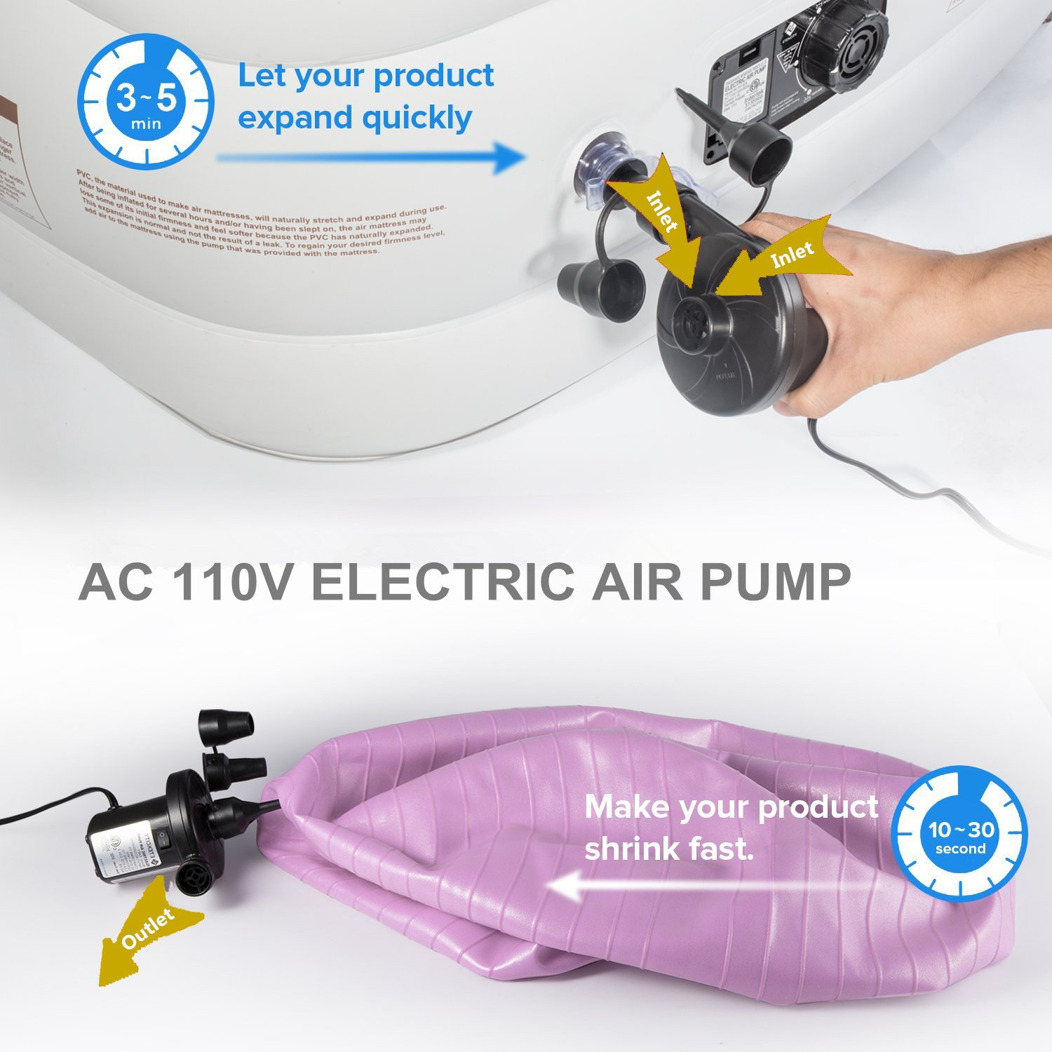 Wing Ying Electric Air Pump 110V AC Quick-Fill Pump for Inflatables Air Mattress Toy Inflatable Pool Swimming Ring Raft Boat Bed by Wing Ying (Image #5)