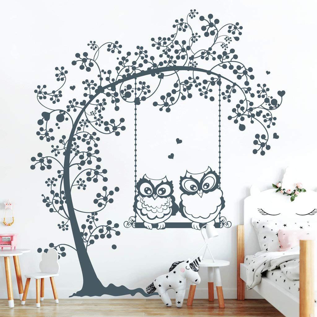 Wandtattoo Zwei verliebte Eulen auf Baumschaukel einer Baumschaukel auf schwarz   115 x 131 cm 23fda9