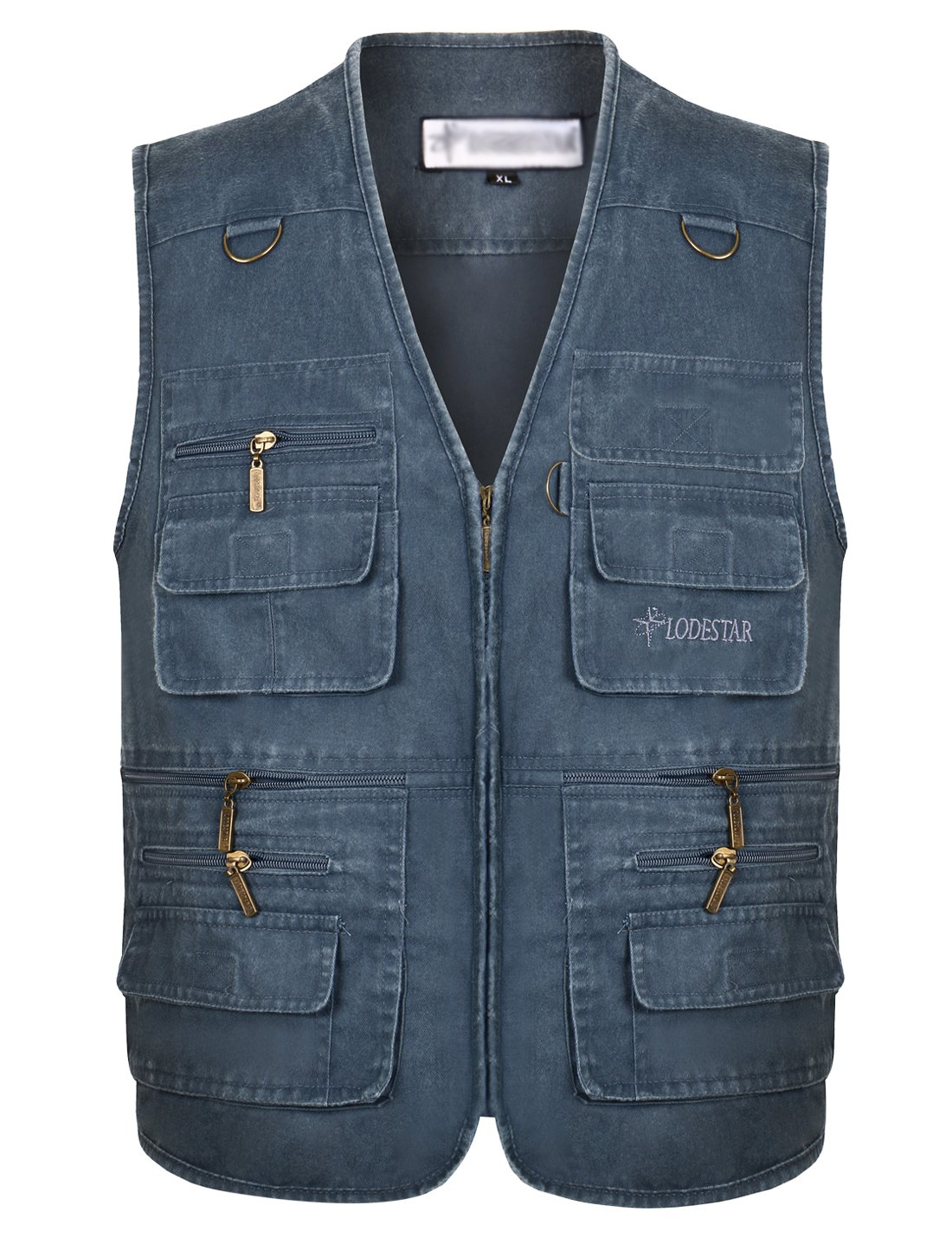 Gihuo Men's Casual Outdoor Leisure Lightweight Pockets Fishing Photo Journalist Denim Vest Plus Size (XXL, Blue) by Gihuo
