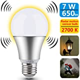 Motion Sensor Light Bulb 7W Smart Bulb Radar Dusk to Dawn LED Motion Sensor Light Bulbs E26 Base Indoor Sensor Night Lights Soft White 2700K Outdoor Motion Sensor Bulb Auto On/Off by Luxon
