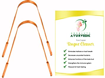 Absolute Ayurvedic Pack of 2 Copper Tongue Scraper Cleaner | Dentist  Recommended For Dental Health and