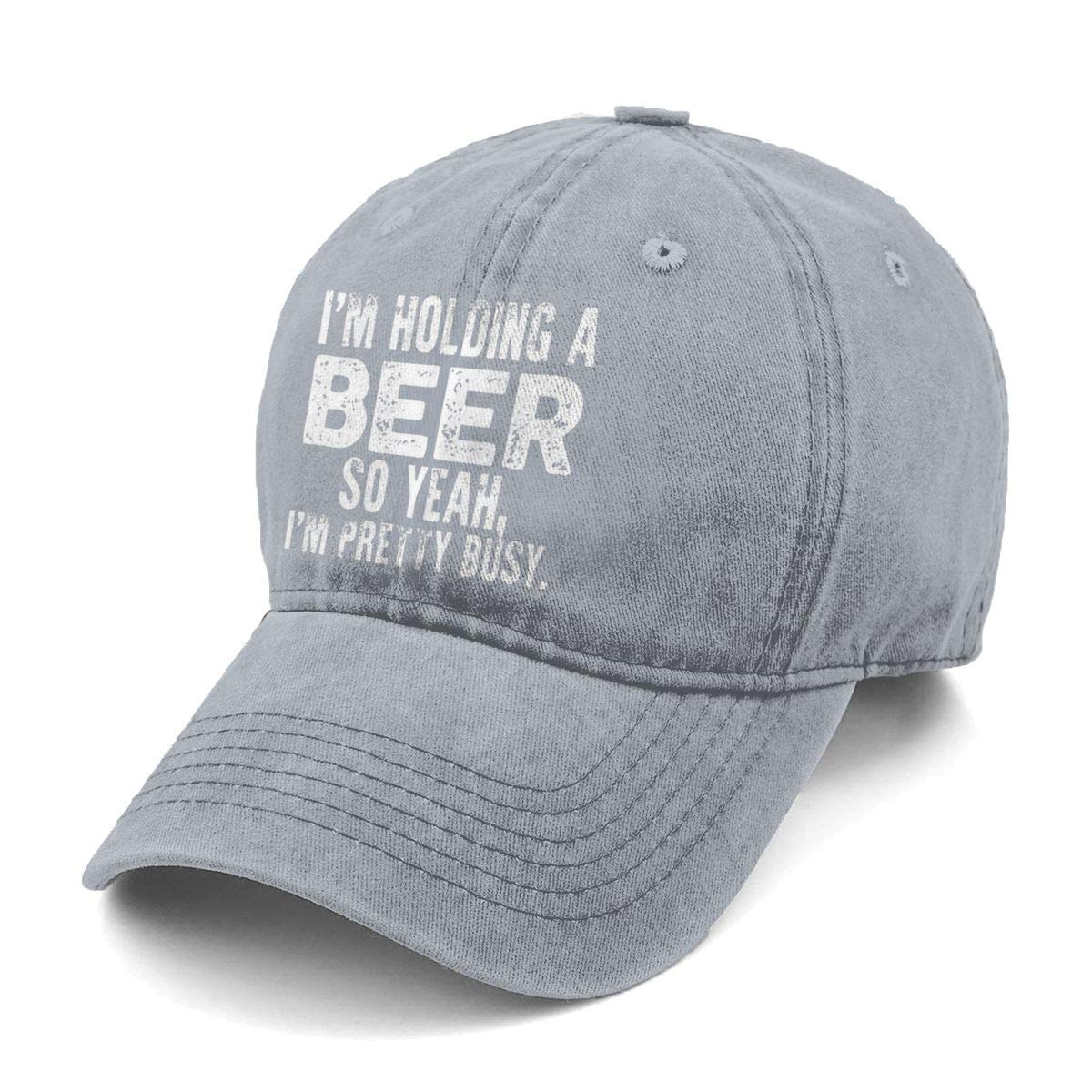 Unisex Im Holding A Beer So Yeah Im Pretty Busy Denim Hat Adjustable Washed Dyed Cotton Dad Baseball Caps