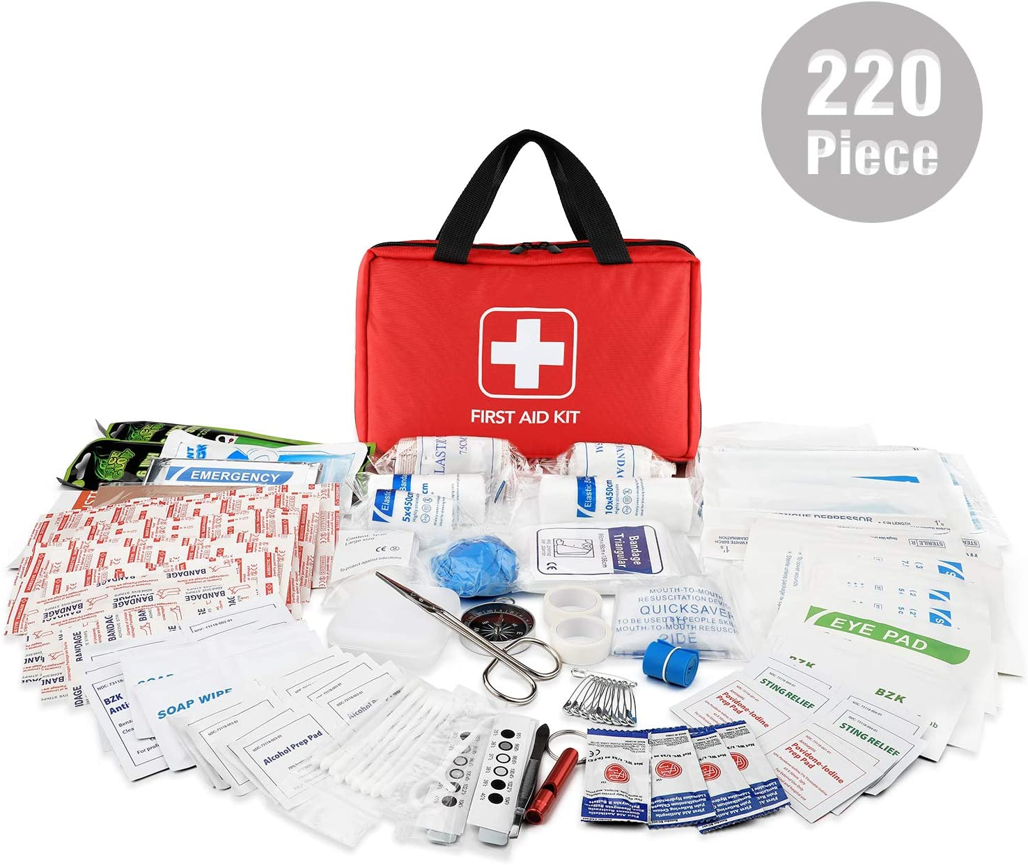 Workplace Boating Travel Vehicle Outdoor Home Perfect for Car Hiking Risen First Aid Kit 220 Pieces Compact Medical Emergency Survival Kit Camping