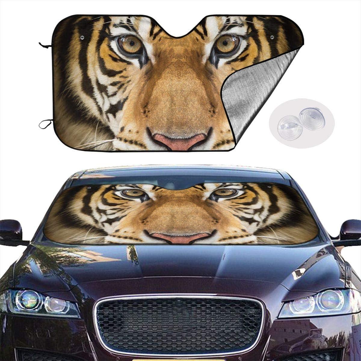 Cool Tiger Eye Face Animal Themed Interior Windshield Sun Shade Cover Car Windows Visor Kit Ornament Decor Outdoor Vehicle Accessories Sunshade Auto for Women Men