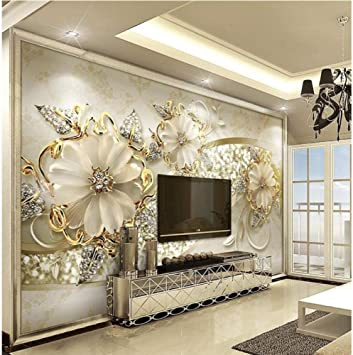 Amazon Com Hwhz Custom Wallpaper 3d Stereo Luxury Gold European Pattern Jewelry Tv Background Wall Wallpaper 3d 350x250cm Kitchen Dining