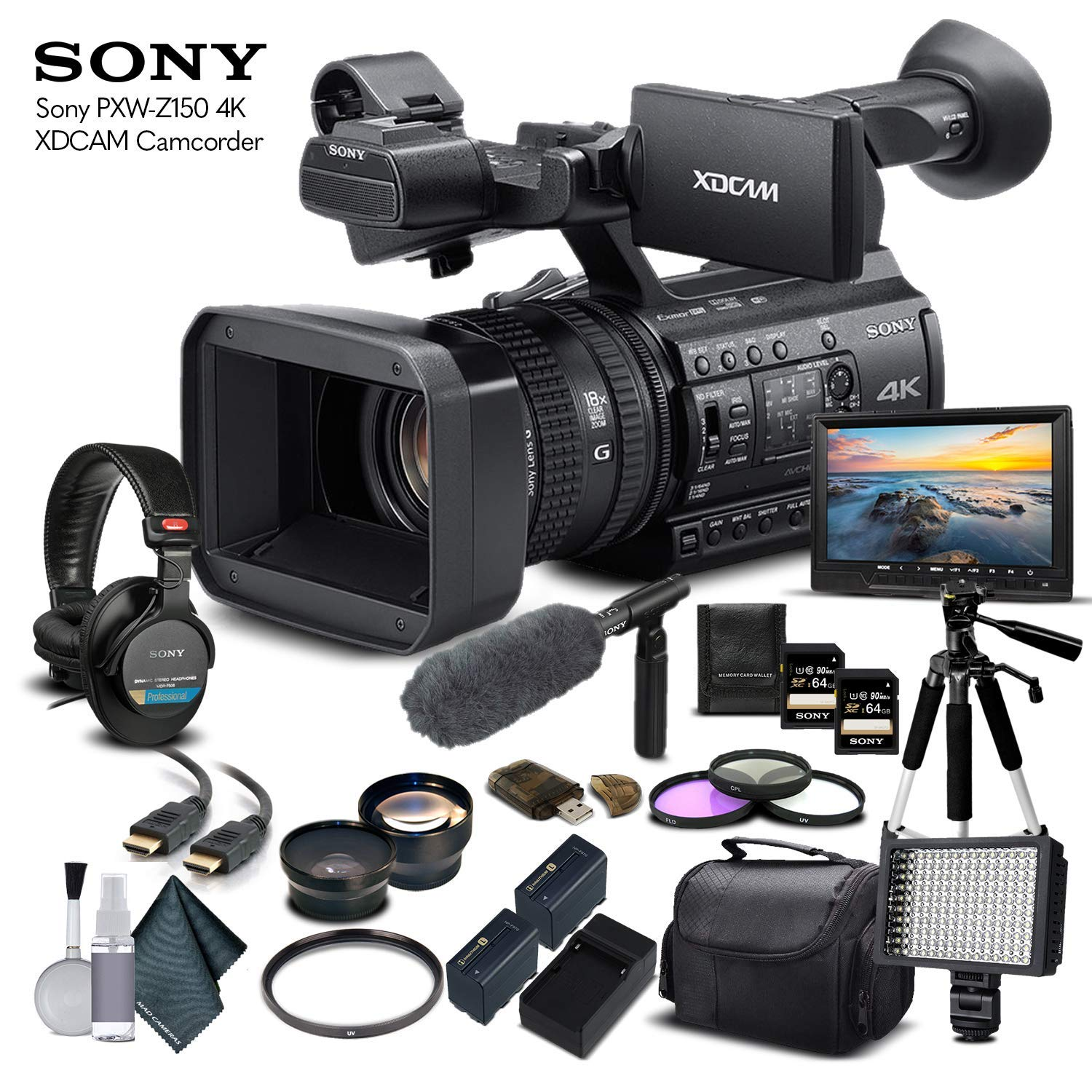 Sony PXW-Z150 4K XDCAM Camcorder (PXW-Z150) with 2-64GB Memory Card, 2 Extra Batteries, UV Filter, LED Light, Case, Tripod, Sony Shotgun Mic, Sony MDR-7506 Headphones - Professional Bundle by Mad Cameras