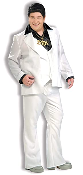Men's Vintage Style Suits, Classic Suits Forum Disco Fever White Disco Suit Costume $42.99 AT vintagedancer.com