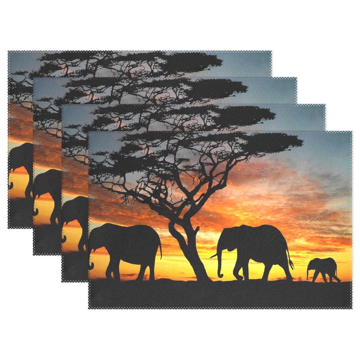 baihuishop Aztec Elephantツリーサンセット12 x 18