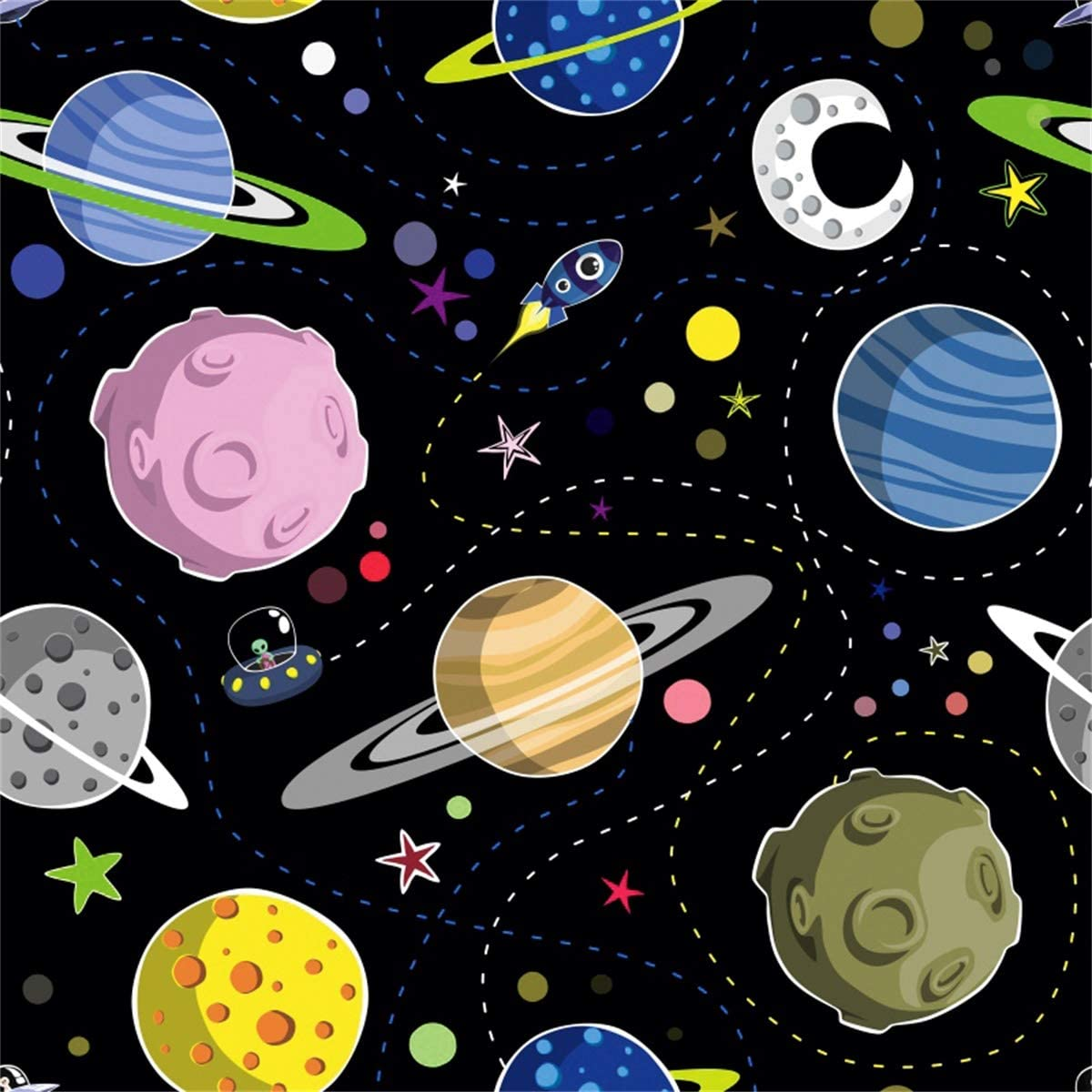 YEELE 10x10ft UFO Alien Ship Backdrop Star Space Univers UFO Cartoon Pattern Photography Background Outer Space Theme Kids Birthday Party Decor Toddler Boys Artistic Portrait Photo Booth Props