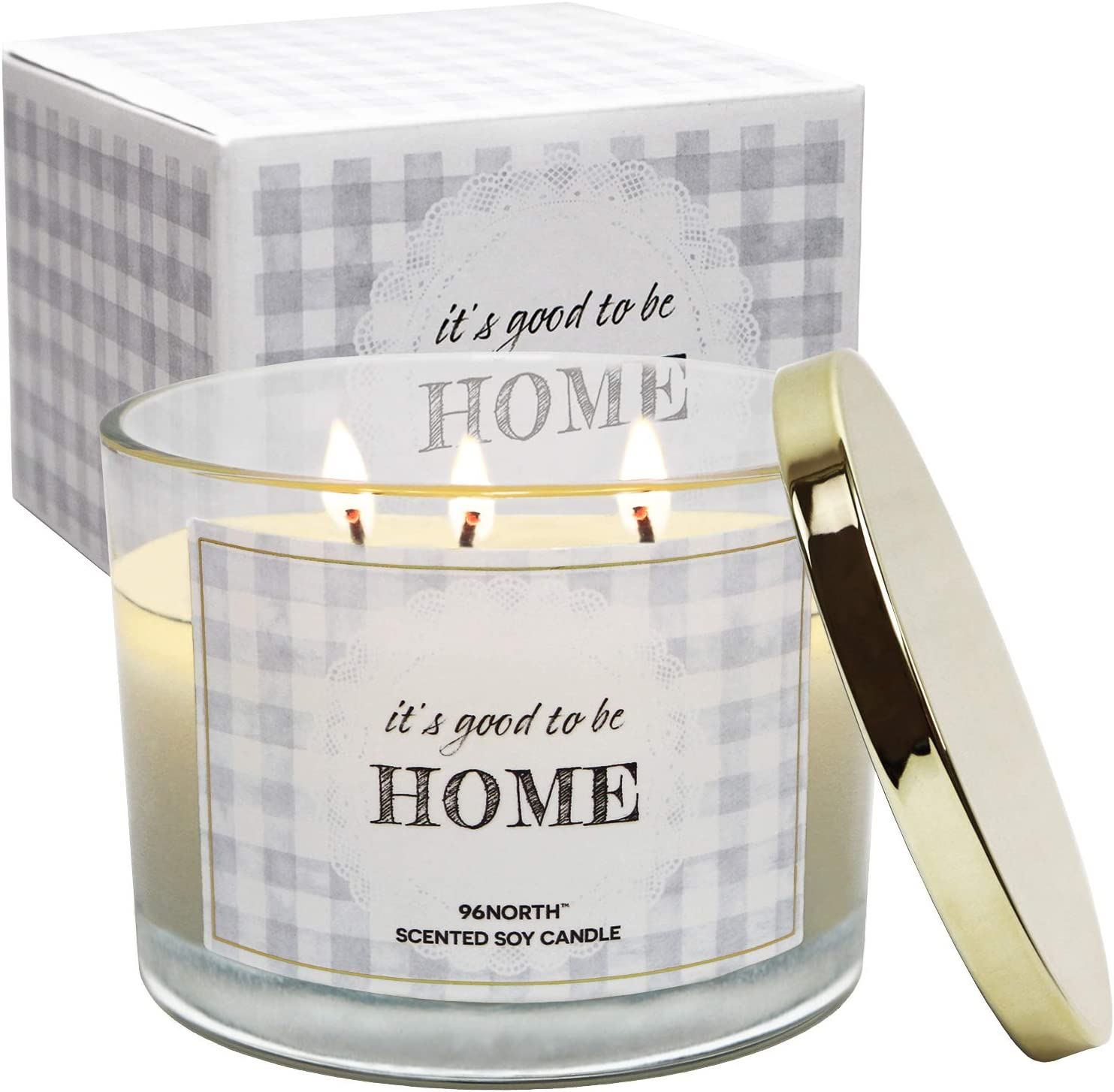 96NORTH Soy 3-Wick 14.5 OZ Home Sweet Home Candle, New Home Large Candle, New Home Gift // New Home Candles, Welcome Home Candle, Welcome to New Home Gift, Candles for Home Scented, Best Gifts Home