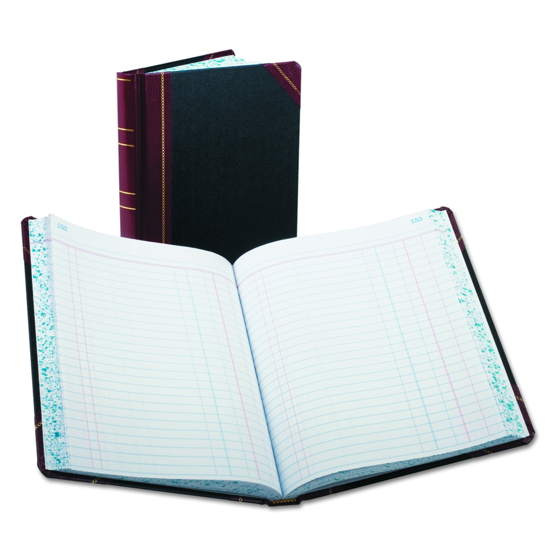 Boorum & Pease Record/Account Book, Black/Red Cover, Journal Rule, 9-5/8 x 7-5/8, 300 Pages (38-300-J)