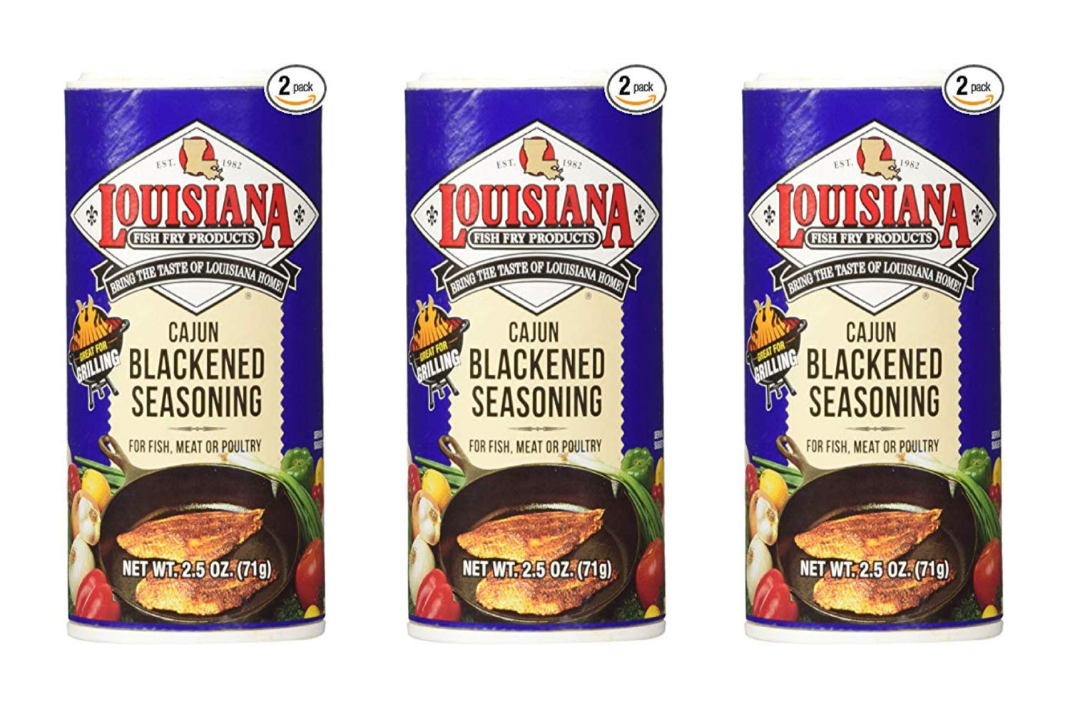 Louisiana Cajun Blackened Seasoning (71 Grams Shakers) 2 Count (3 Pack)