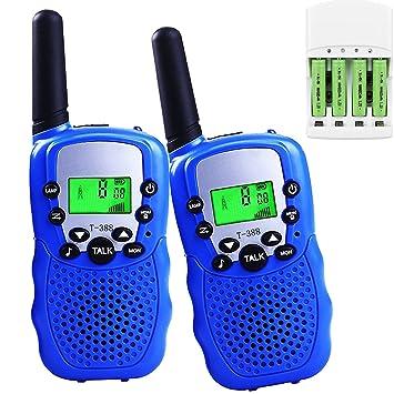 Walkie Talkie Niños PMR 446 Walky Talky con 16 Piezas Batería Recargable y Cargador Alcance hasta 3 km Función VOX 8 Canales 0,5 W pantalla LCD y ...