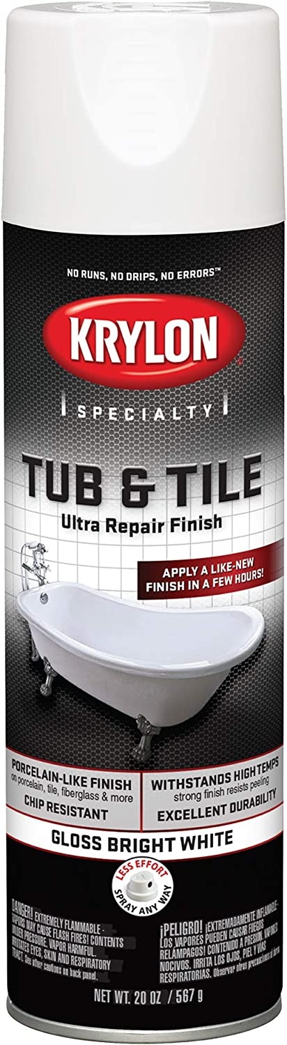 Krylon K04502007 Tub & Tile Ultra Repair Finish Spray Paint, Aerosol, Bright White