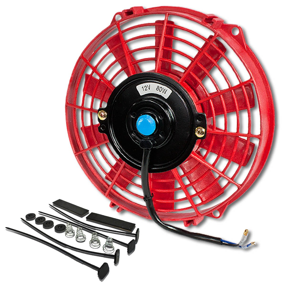 Pack of 1 10 Inch High Performance 12V Electric Slim Radiator Cooling Fan w//Mounting Kit Red