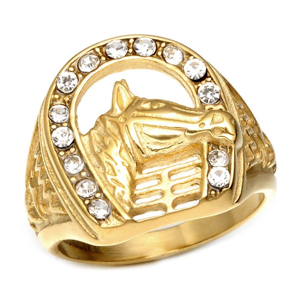 BOBIJOO Jewelry - Chevalière Bague Fer à Cheval Tête Camargue Gitan Elvis Doré Strass Acier Or