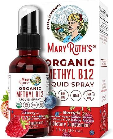 USDA Organic Vitamin B12 (Methyl) Liquid Spray by MaryRuth's | Nerve Function, Energy Boost | Sugar Free, Non-GMO, Vegan, Gluten Free, Celiac Friendly | MTHFR Gene Variant Support | 1oz Glass Bottle