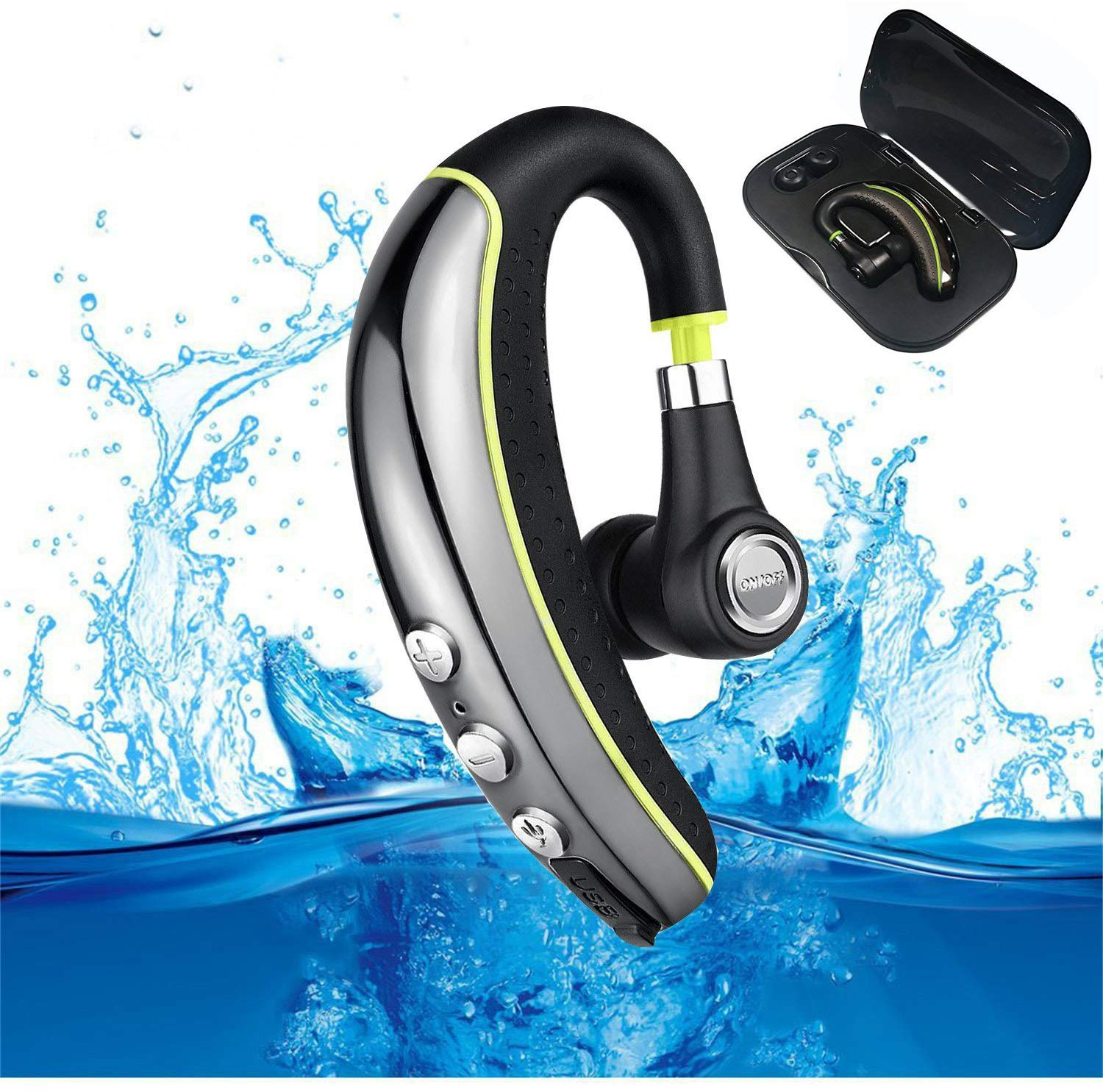 Bluetooth Headset V4.1, MLevis Wireless Business Earpiece Trucker in-Ear Earbuds Headphones with Noise Reduction Mute Switch, Hands Free w/Mic for Office/Business/Workout/Driver/Trucker-Yellow 4334962853