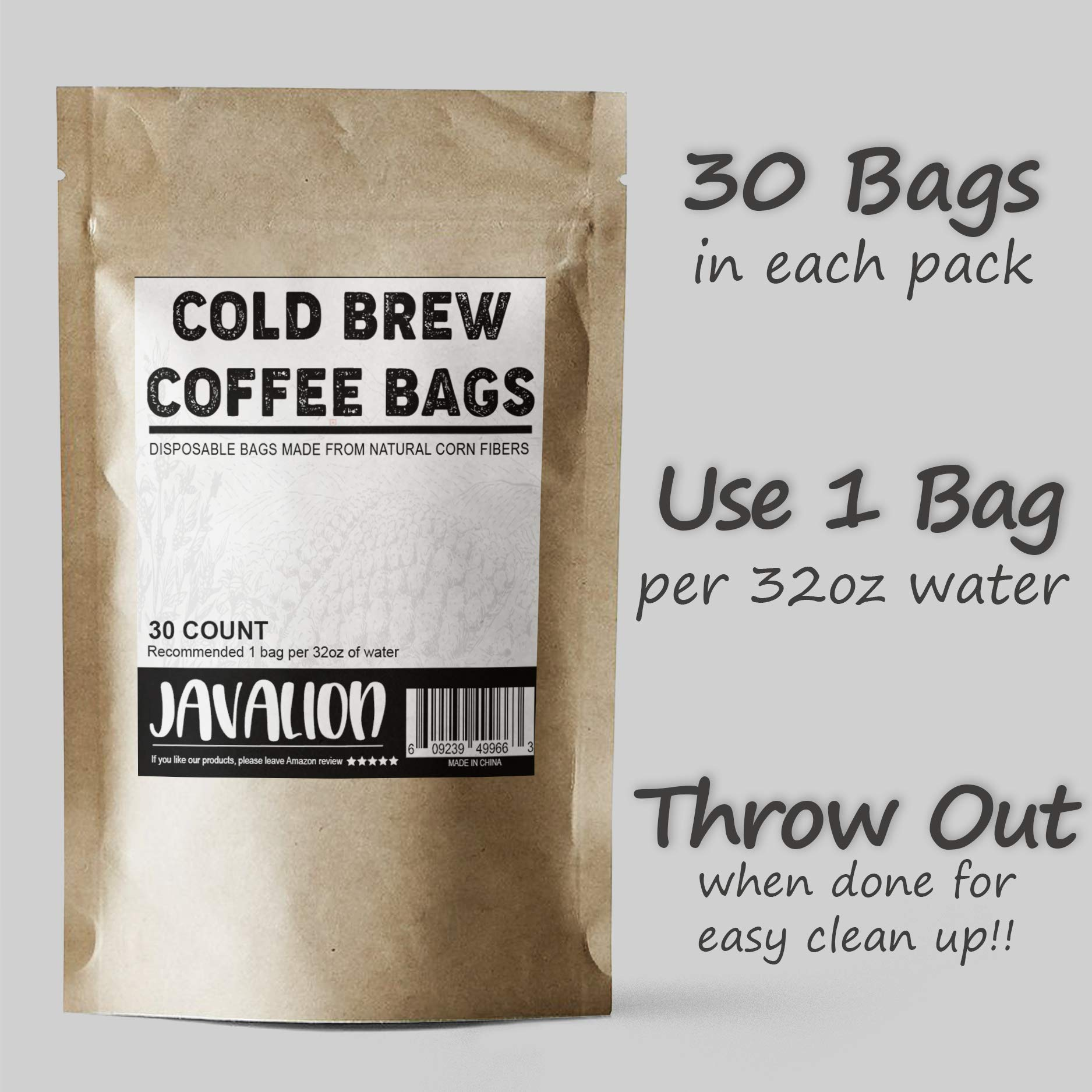 Cold Brew Coffee Bags – Easily Make Great Cold Brew Coffee at Home with JavaLion's All Natural Single-Use Cold Brew Coffee Filters. LARGE 4x6 in. Cold Brew Filters Fine Mesh Brewing Bags [30 COUNT] by JavaLion (Image #3)