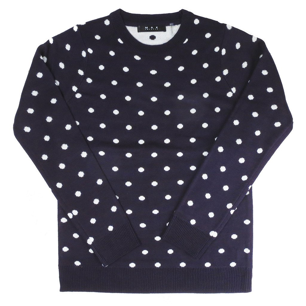 1940s Style Sweaters and Knit Tops Mak Polka Dot Long Sleeve Sweater $30.00 AT vintagedancer.com