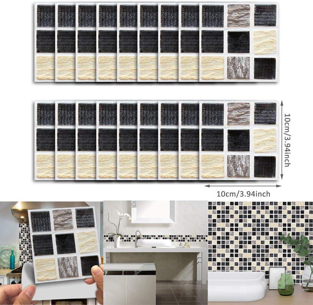 18Pcs Mosaic Self-adhesive Bathroom Kitchen Wall Decor 3D Tile Wall Sticker