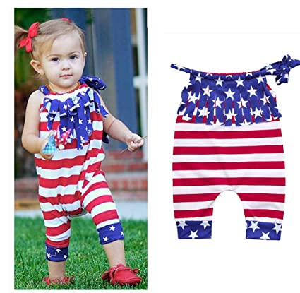 2971fde3a3b 4th Of July Romper - Franterd Baby Striped Straps Rompers with Tassel Kid  Sleeveless Playsuit Jumpsuits