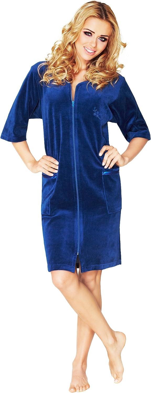 Knee Length Womens Soft Cotton Bath Robe Housecoat Dressing Gown Dress Style Velour Bathrobe Zip Up