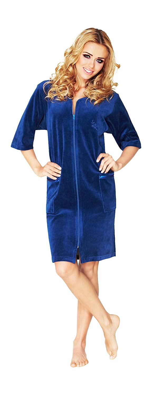 Wanmar Company Womens Lightweight Zip Up Dressing Gown Housecoat Robe