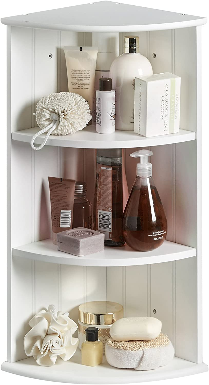 VonHaus 3 Shelf Corner Unit Bathroom Cabinet – Bathroom Storage Corner Unit - White Bathroom Furniture