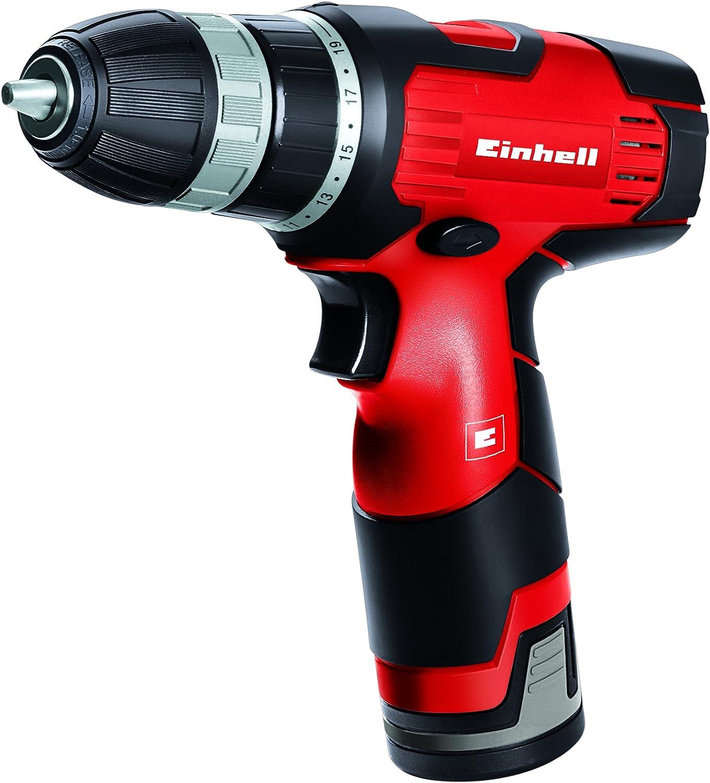 Einhell TH-CD 12 Li - Taladro sin cable, 1 velocidad, batería de 1.3 Ah, 24 Nm, portabrocas 10 mm, 12 V, color negro y rojo
