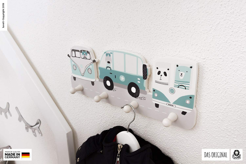 Garderobenhaken Kinderzimmer Kindergarderobe mit 4 Haken Dreamcars Kleiderhaken G11 Wandhaken viele Motive Ma/ße ca.: 40 x 15 x 1 cm Wandgarderobe Kinderm/öbel