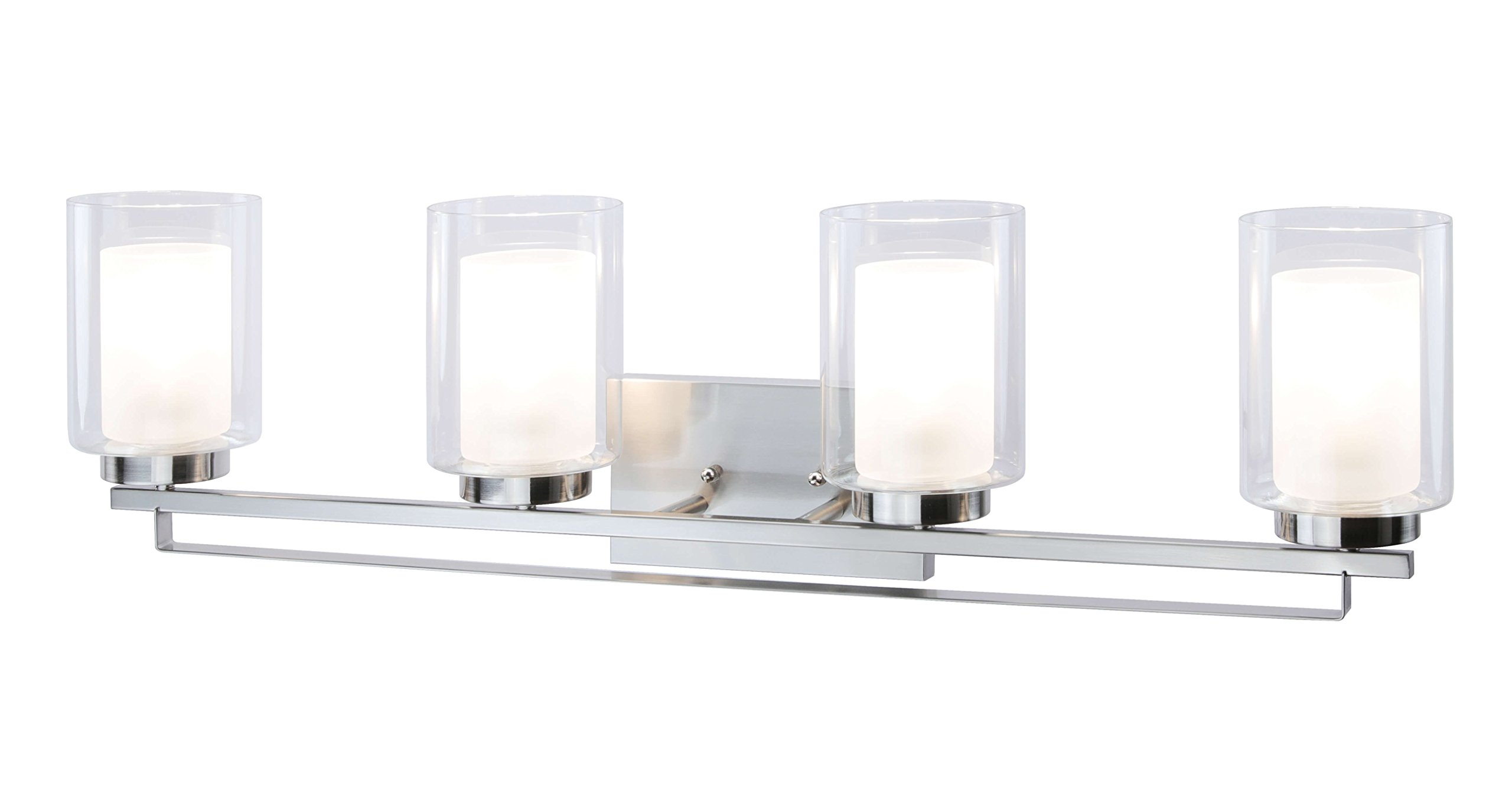 Wall Light 4 Light Bathroom Vanity Lighting with Dual Glass Shade in Brushed Nickel Indoor Modern Wall Mount Light for Bathroom & Kitchen XiNBEi-Lighting XB-W1195-4-BN by XiNBEi Lighting (Image #4)