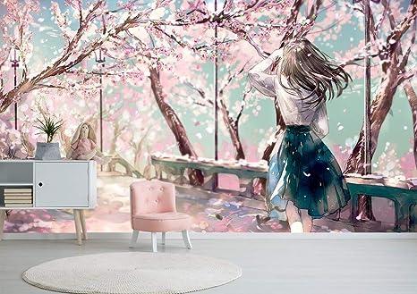 Flor De Cerezo Rosa Jardín Chica Anime Mural De Papel Pared