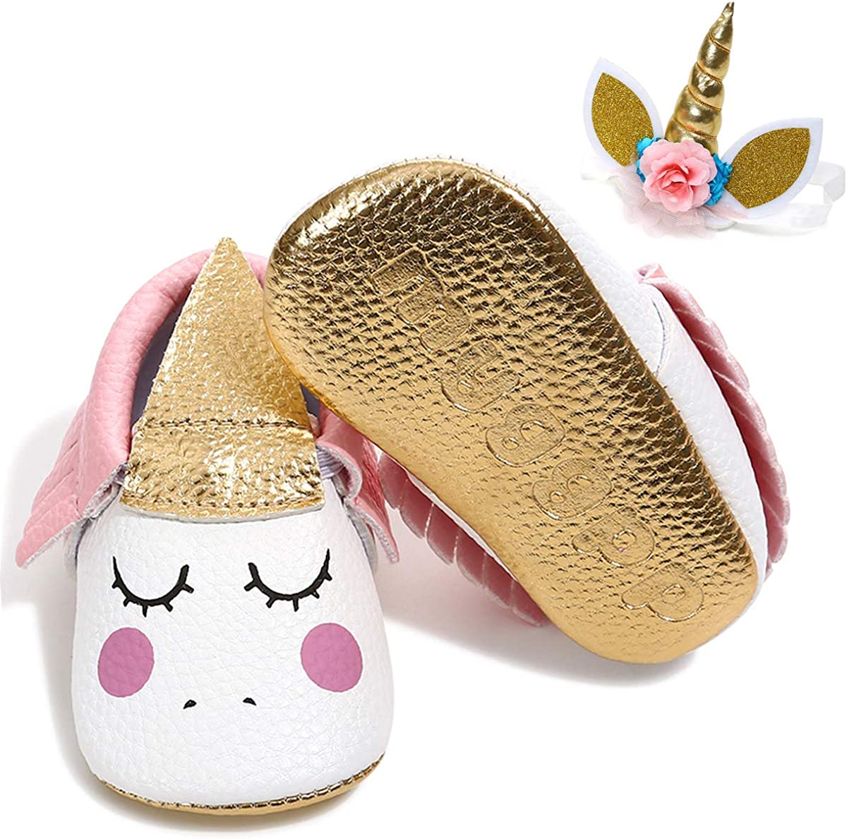 LiveBeauty Newborn Baby Girl Shoes,Soft Toddler Mary Jane Party Crib Shoes with Headband