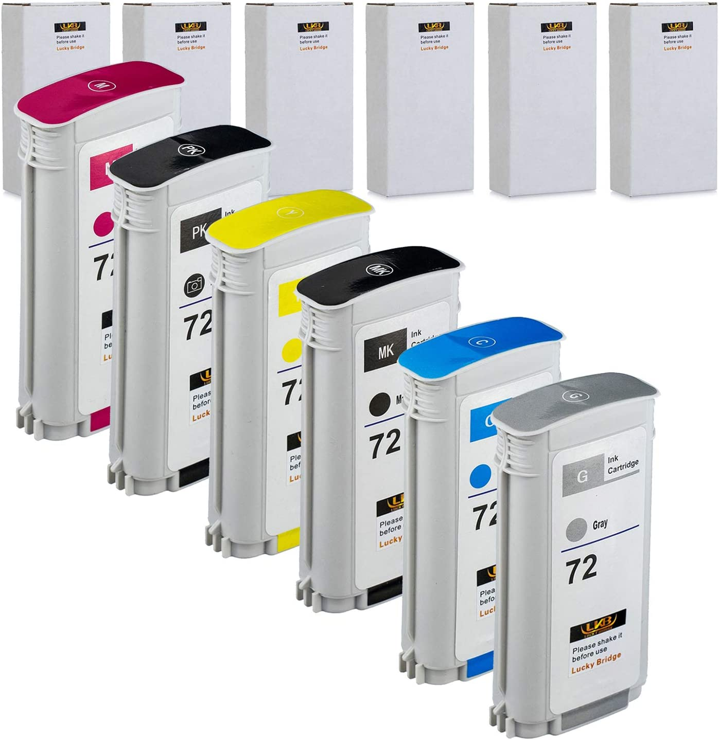 LKB 6PK Compatible HP72 Ink Cartridge Replacement with 130ML Use with designjet T1100 T1200 T1100ps T1120 SD-MFP T1120ps T2300 T610 T620 T770 Series Printer (6 Pack HP72) -US