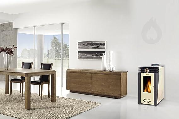 Diseño moderno con los pellet-estufa de metal-paredes laterales, parte frontal y cubierta de hierro fundido con mando a distancia: Amazon.es: Bricolaje y ...