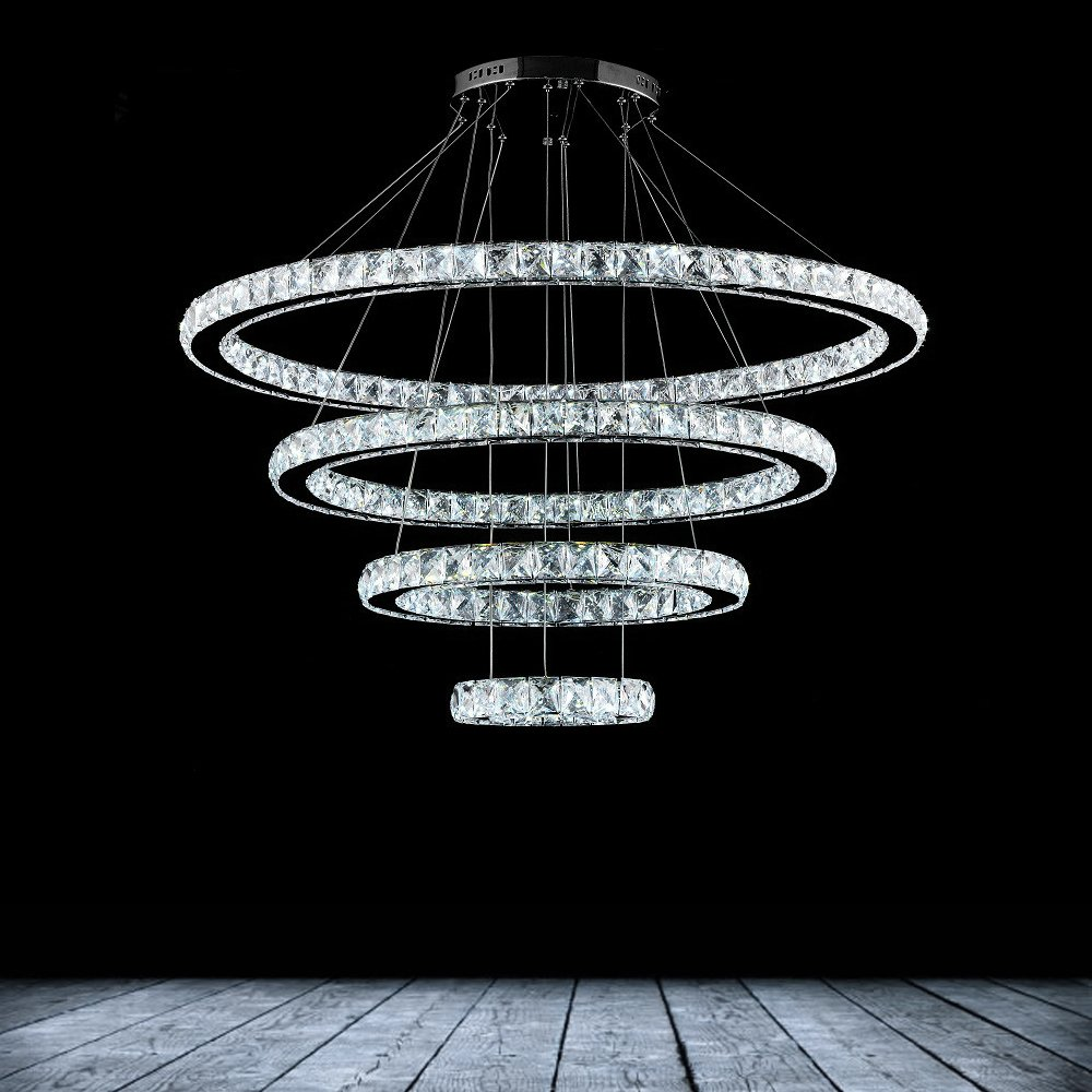Dearlan Modern Crystal 4 Ring Chandeliers D31.5''+23.6''+15.7''+7.8'' Ceiling Lighting Fixture Chandelier Lighting for Living Room Hotel Hallway Foyer Entry Bed Room