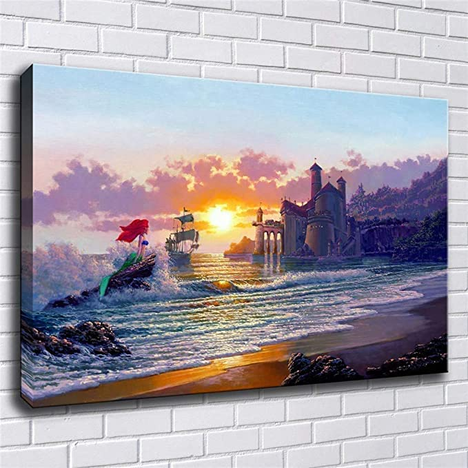12x16 inch,Unframed Beautiful Girl Becomes A Tree Flower Sea and Sunset Home Decor Print Oil Painting on Canvas Wall Art