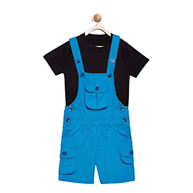 f0971abb617 FirstClap Cotton Knee Length Ferozi Dungaree and T-Shirt for Kids ...