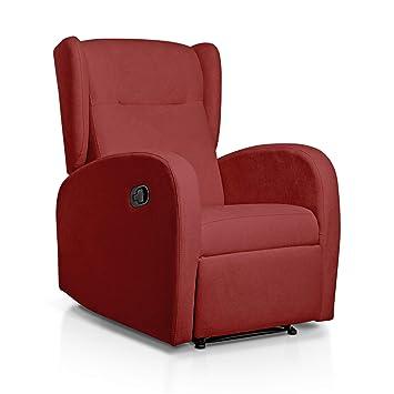SUENOSZZZ-ESPECIALISTAS DEL DESCANSO Sueños ZZZ | Sillon Relax reclinable Home tapizado Tela Antimanchas Rojo | Sillon reclinable butaca Relax| Sillon ...