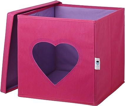 STORE.IT 750022 - Caja, 30 x 30 x 30 cm, Color Rosa y Blanco: Amazon.es: Hogar