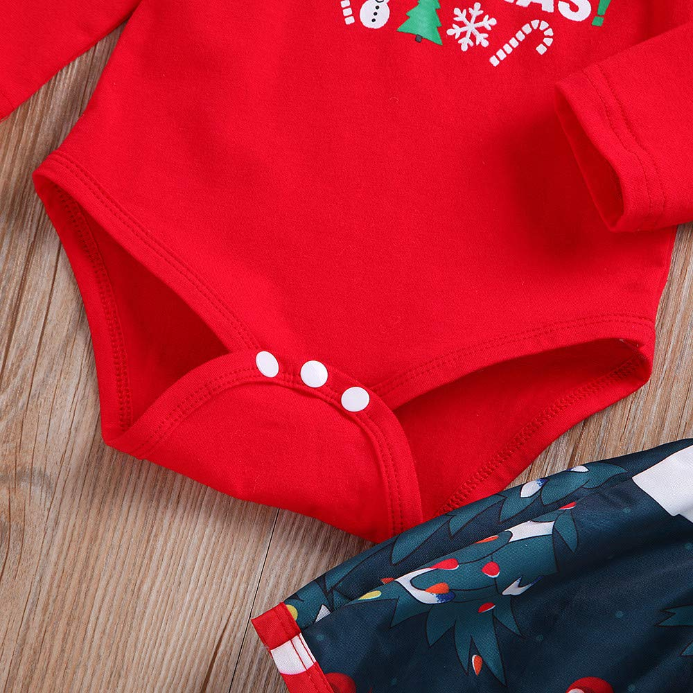 XUANOU Newborn Baby Girl Christmas Letter Romper Tops Deer Skirt Clothes Outfits