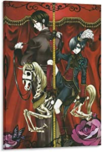 TYUIPO Anime Poster Black Butler Michaelis Ciel Halloween Canvas Art Poster and Wall Art Picture Print Modern Family Bedroom Decor Posters 20x30inch(50x75cm)