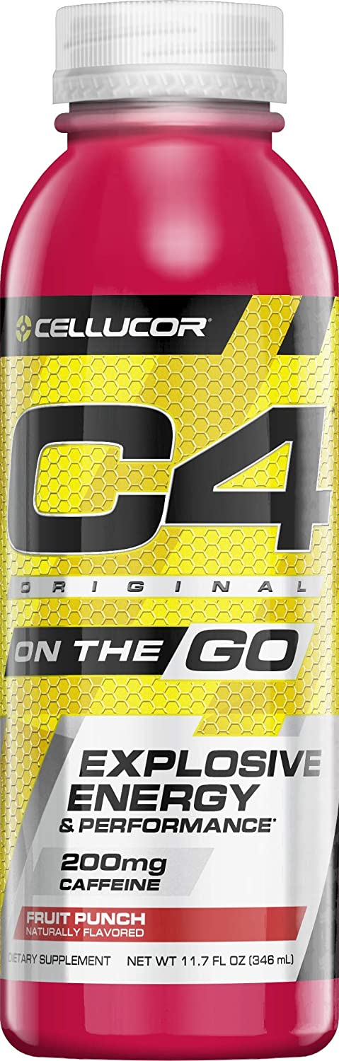 Cellucor C4 On The Go Zero Sugar Pre Workout Drink, Energy Drink + Beta  Alanine, Fruit Punch, 11 7