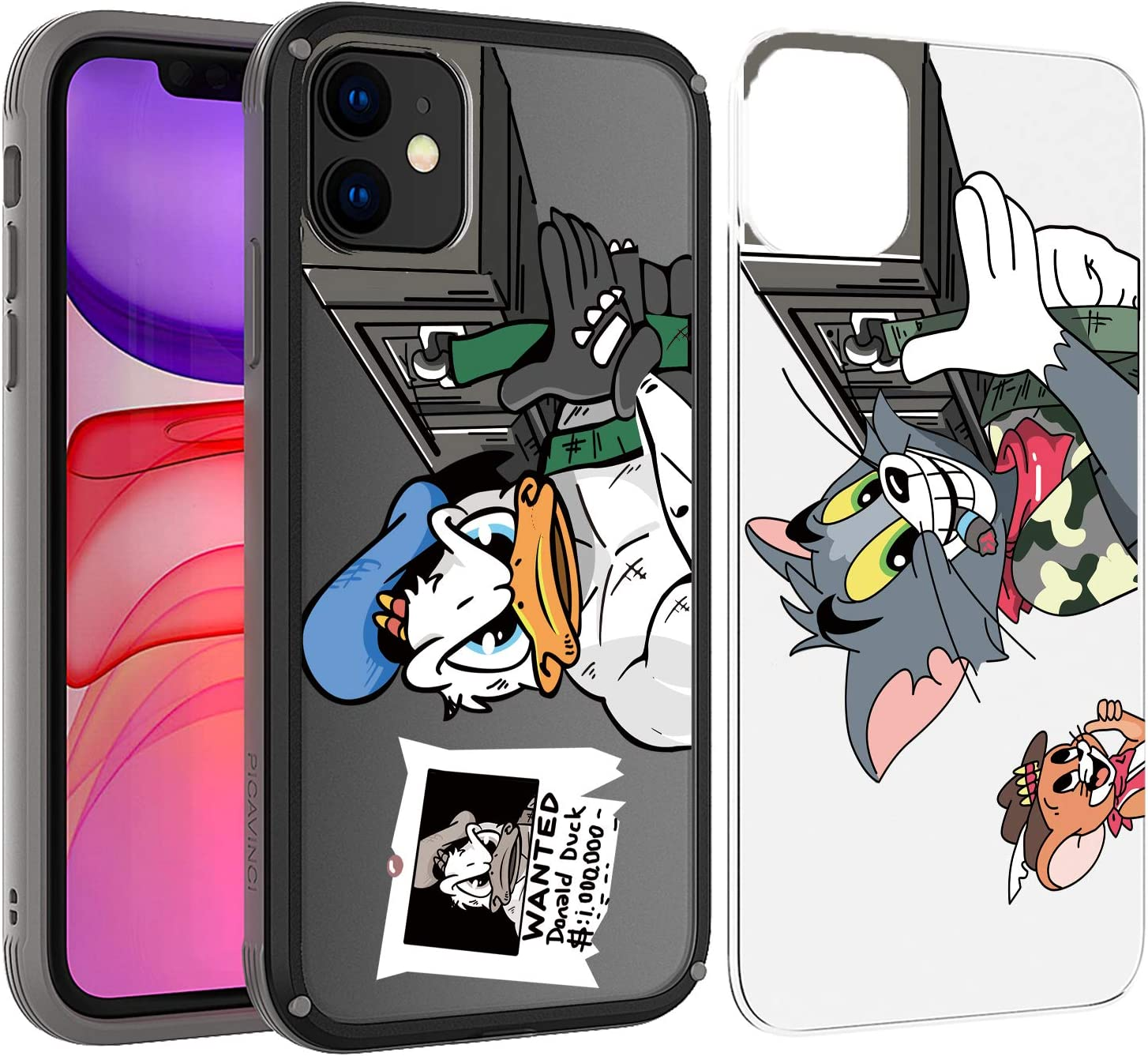 PICAVINCI SwitchME Case for iPhone 11, Arnold Donald Duck Tom Jerry Rocket Launcher Funny Black Clear Matte Protective Cover